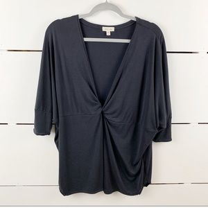 UO SILENCE + NOISE Oversized Dolman Knotted Blouse